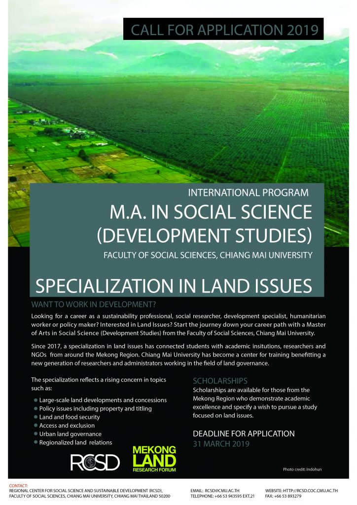 Call for applicants: MA in Social Science (Development Studies) - Specialization in Land Issues - at Chiang Mai University